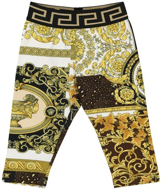 Versace Kids Baby Barocco Mosaic stretch-cotton leggings