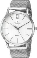 Peugeot Men's 'Roman Numeral' Quartz Metal and Stainless Steel Dress Watch, Color:-Toned (Model: 1052SSL)
