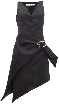Paco Rabanne Asymmetric Buckled Satin Dress - Black