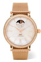 IWC SCHAFFHAUSEN - Portofino Automatic Moon Phase 37 18-karat Red Gold, Mother-of-pearl And Diamond Watch - Rose gold