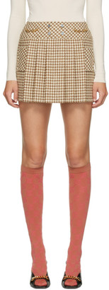 Gucci Off-White and Beige Wool Houndstooth Miniskirt