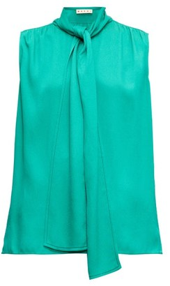 Marni Tie-neck Sleeveless Crepe Blouse - Womens - Green