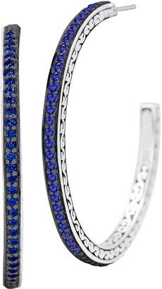 Lois Hill Sterling Silver 0.55 cttw Sapphire Hoop Earrings