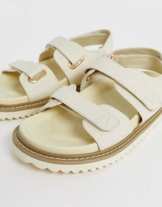 Asos Design DESIGN Forbidden chunky sandals in natural canvas-Cream