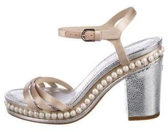 Chanel Satin Embellished Sandals