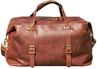 Touri Large Genuine Leather Holdall In Russet Brown