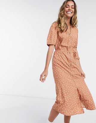 JDY ora button through midi dress in brown