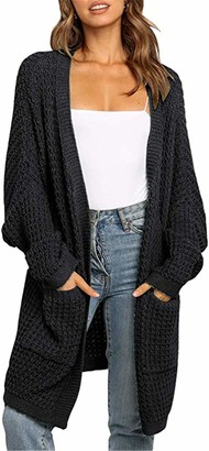 Meridiaga Women's Long Batwing Sleeve Open Front Chunky Knit Cardigan Sweater with Pockets (Black L)