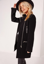 Missguided Collarless Biker Coat Black