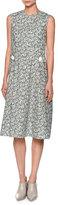 Marni Sleeveless Floral-Print Cotton Dress, Green