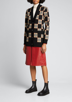 Burberry Box-Pleat Leather A-Line Skirt