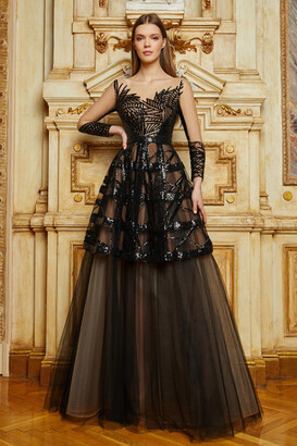 Cristallini Long Sleeve Sequined Tulle Gown