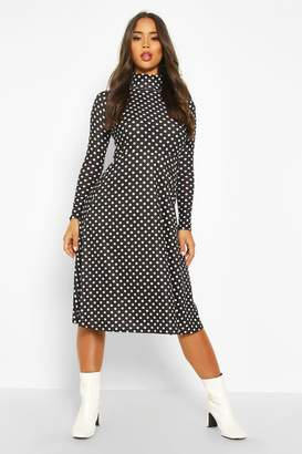 boohoo Polka Dot High Neck Jersey Midi Dress