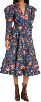 Ulla Johnson Nanette Floral A-Line Long Sleeve Poplin Dress
