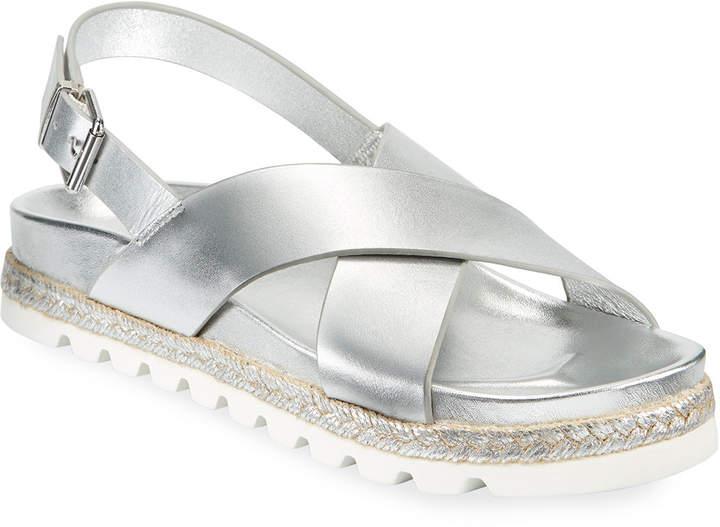 J/Slides Lee Metallic-Leather Crisscross Sandals