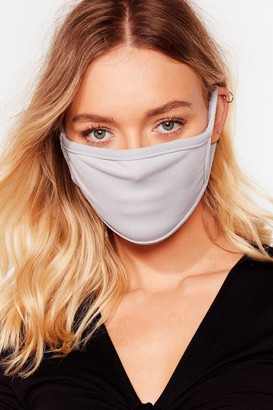 Nasty Gal Womens All Mouth Fashion Face Mask - Grey