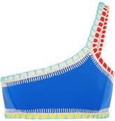 Kiini Tuesday One-shoulder Crochet-trimmed Bikini Top - Blue