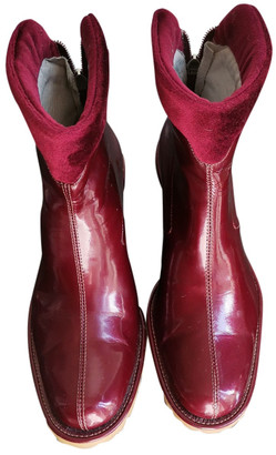 Non Signé / Unsigned Non Signe / Unsigned Burgundy Patent leather Boots