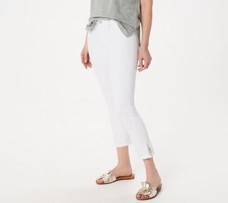 JEN7 by 7 For All Mankind Cropped Skinny Jeansw/ Pom Pom Trim