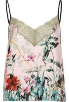 River Island Womens Pink jungle print lace cami pyjama top