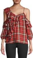 Bailey 44 Cross Country Plaid Cold-Shoulder Top