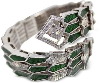 White Gold Spiral Triple Snake Bracelet w/ Diamonds&Green Enamel