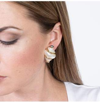 Kenneth Jay Lane Pearl Shell With Grey Pearl Tip Clip Earrings