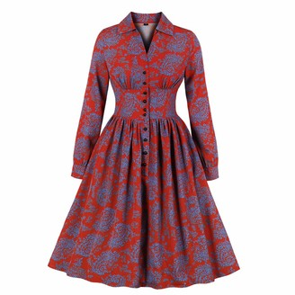 Wellwits Women's Long Sleeves Floral Pattern Print Vintage Button up Shirt Dress XL Red and Blue
