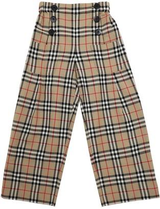 Burberry Wide Leg Check Print Wool Pants