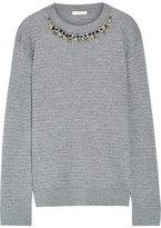 Erdem Lana Crystal-embellished Cable-knit Stretch Wool-blend Sweater - Gray