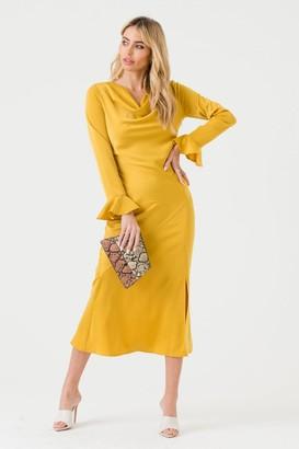 LIENA Mustard Cowl Neck Midi Dress with Open Back