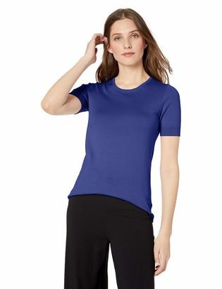 Lark & Ro Women's Short Sleeve Crew Neck Pima Cotton Sweater