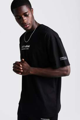 BoohoomanBoohooMAN Mens Black MAN Oversized T-Shirt With Woven Badge Detail, Black