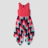 LILT Girls' Lilt Sleeveless Lace & Chiffon Hanky Hem Dress with Bow Back - Coral