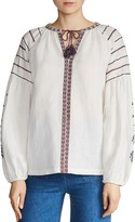 Maje Canvas Embroidered Peasant Top