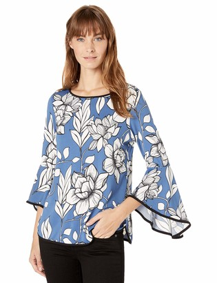 MSK Women's Bell Sleeve TOP with Piping