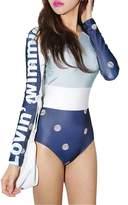 Azyuan Women's Long sleeve splicing floral stripe one-piece Swimsuit M(US XS)