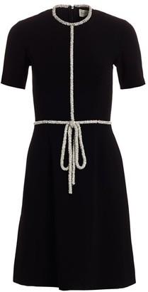 Ahluwalia Embellished-Trim Stretch Crepe Dress