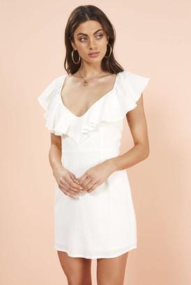 MinkPink White Frills Mini Dress White XS