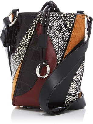 Proenza Schouler Hex Patchwork Leather, Suede And Snake Bucket Bag