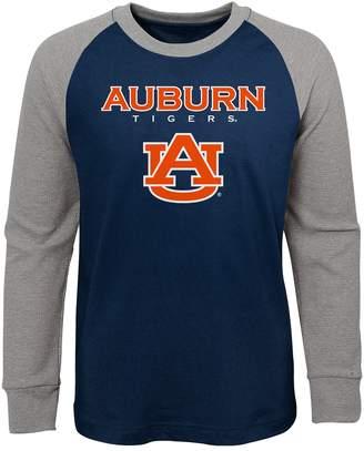 NCAA Unbranded Boy's 4-20 Auburn Tigers Raglan Thermal Long Sleeve Tee
