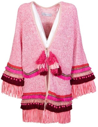 The Extreme Collection Pink Knit Poncho Camile