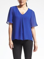Banana Republic Short-Sleeve Pleated Neckline Blouse