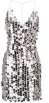 Qiji Women's Round Sequin Dress Ladies Blackless Strap Bling Bling V-neck Party Club Dress (XL, )