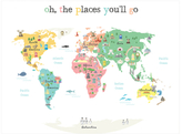 Oh the Places You'll Go World Map Wall Art (Canvas)