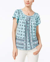 Style&Co. Style & Co Petite Printed Pleated-Neck Top, Only at Macy's