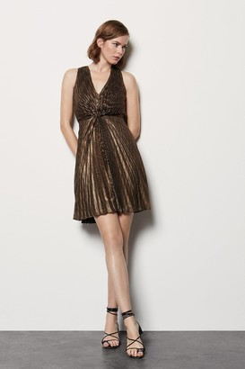 Metallic Pleated Sleeveless Dress