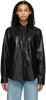AGOLDE Black Faux-Leather Paloma Shirt
