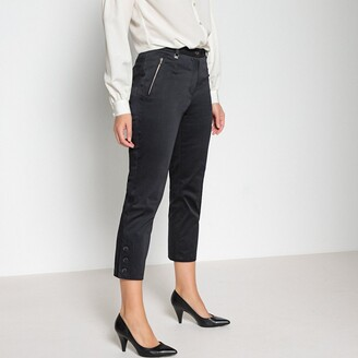 """Anne Weyburn Satin Cropped Trousers in Stretch Cotton, Length 23.5"""""""