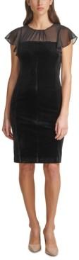 Harper Rose Shirred-Neck Velvet Sheath Dress